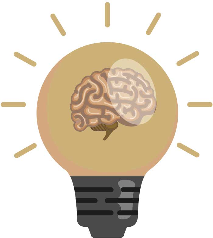 Ein Gehirn in der Glühbirne signalisiert eine aufblitzende Idee