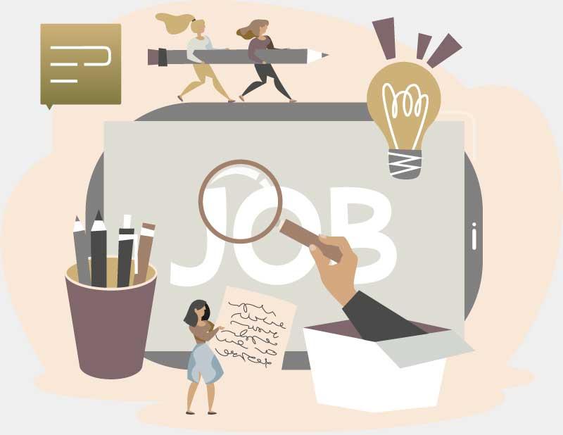 Cartoon mit Menschen, Stiften, einem equal personal Logo und einem Tablet mit der Beschriftung Job