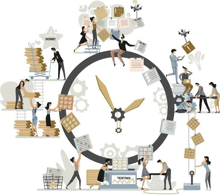 Arbeitnehmer arbeiten Zeit symbolisch an der Uhr ab - Zeitarbeit