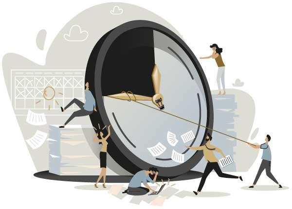 Cartoon mit Menschen arbeiten an einer Zeituhr